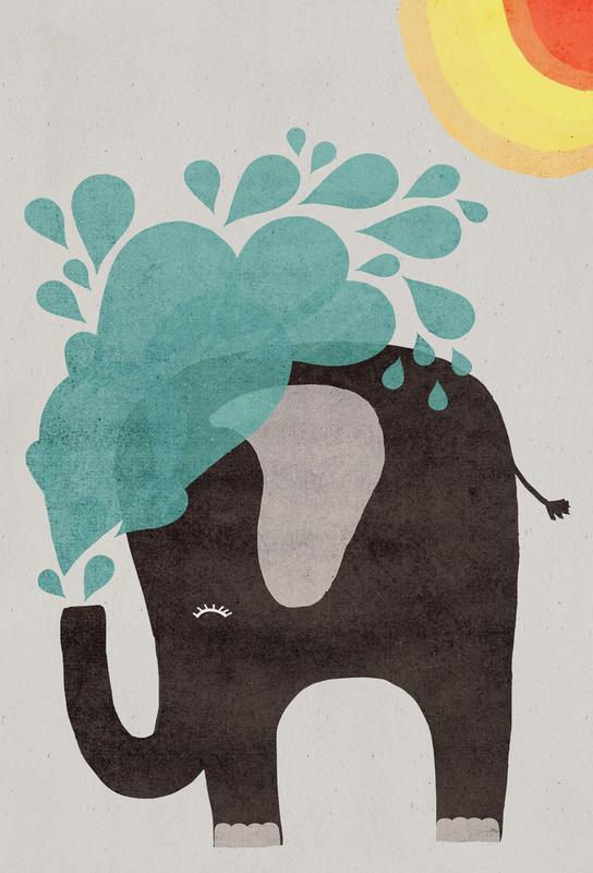Funny Elephant 2 Impression sur alu-Dibond