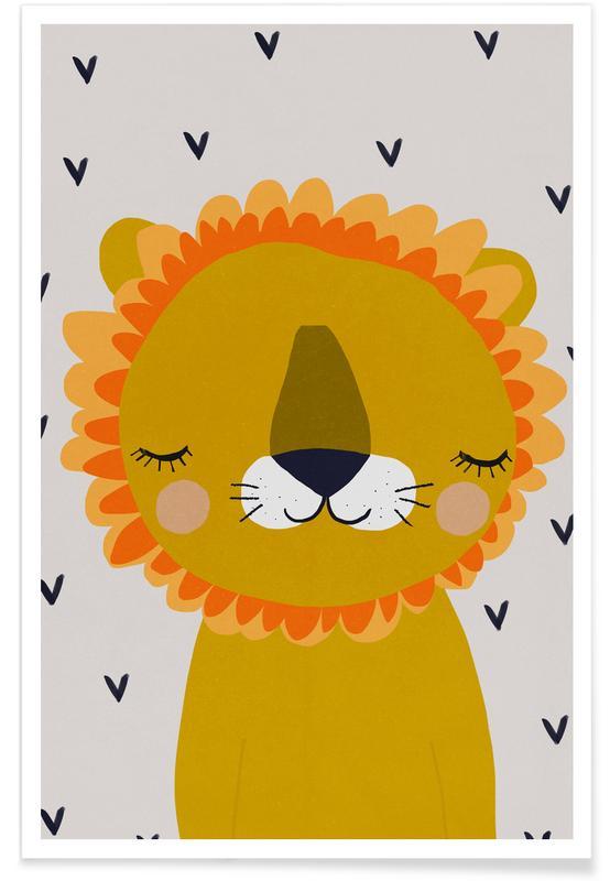 Art pour enfants, Lions, Lion enfant - Illustration affiche