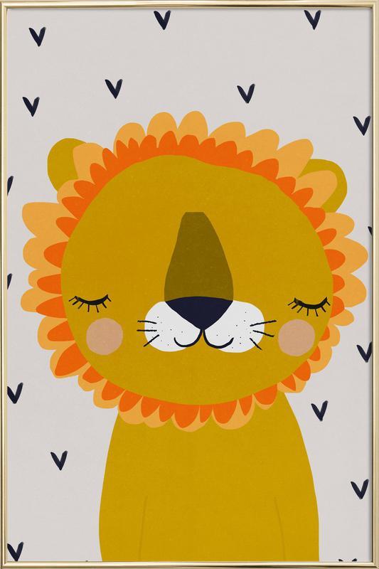 Löwe -Poster im Alurahmen