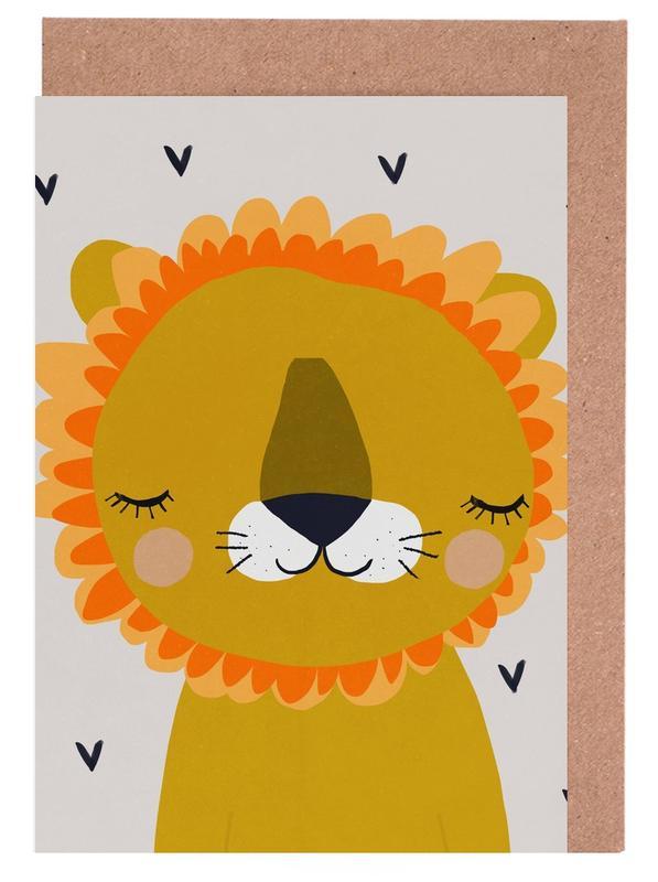 Kinderzimmer & Kunst für Kinder, Löwen, Löwe -Grußkarten-Set