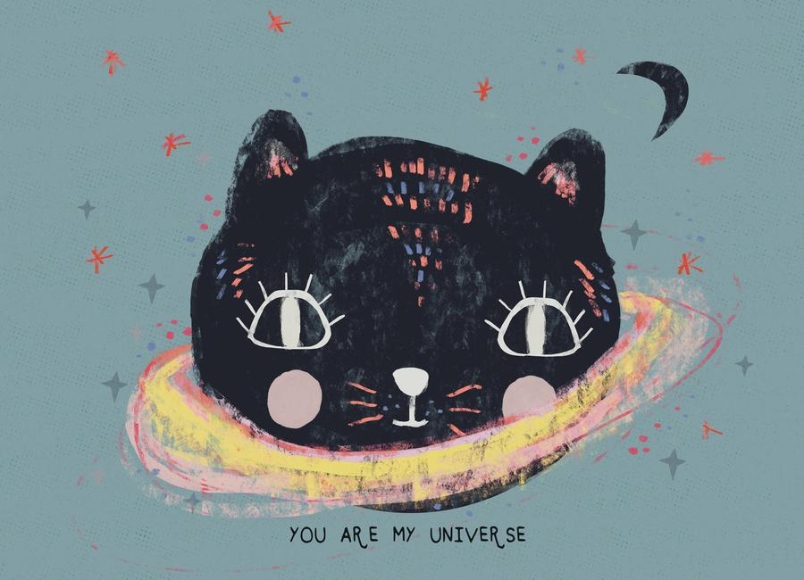 You Are My Universe Blau Canvas Print