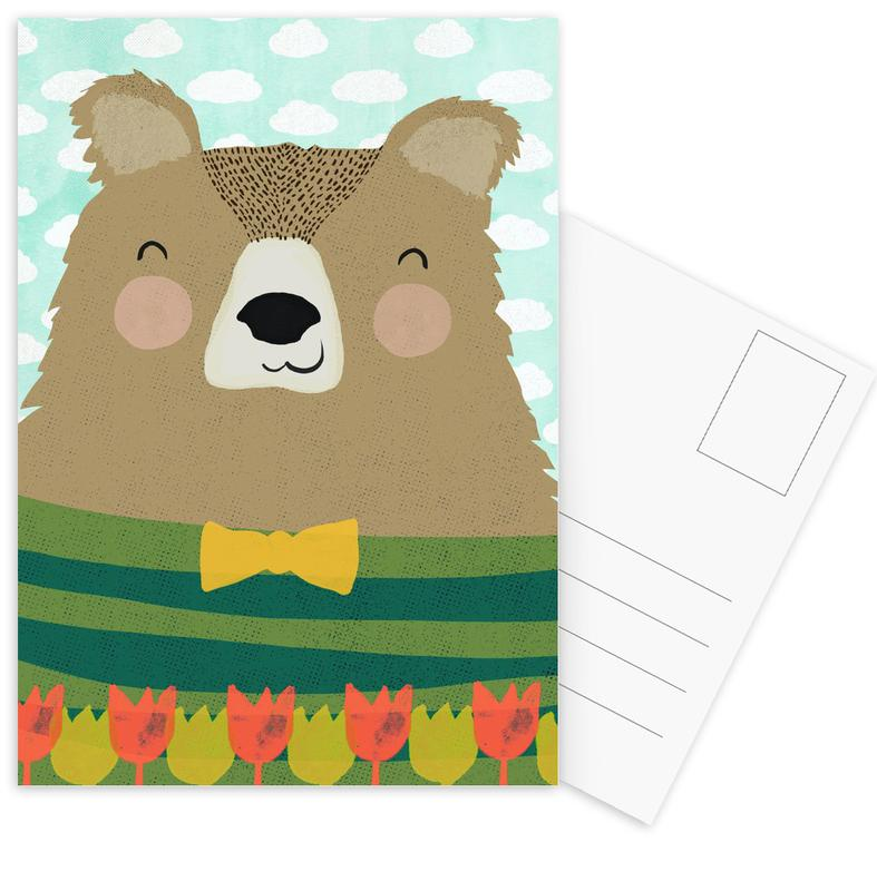 Bären, Kinderzimmer & Kunst für Kinder, Gärtner Bruno -Postkartenset