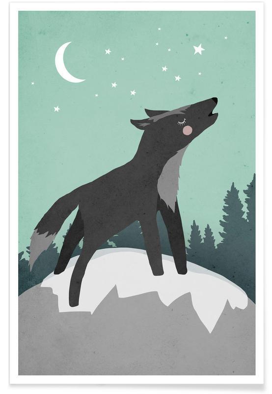 Art pour enfants, Loups, Wolf affiche
