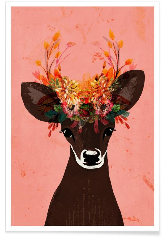 Deer, Nursery & Art for Kids, Blooming Deer Poster
