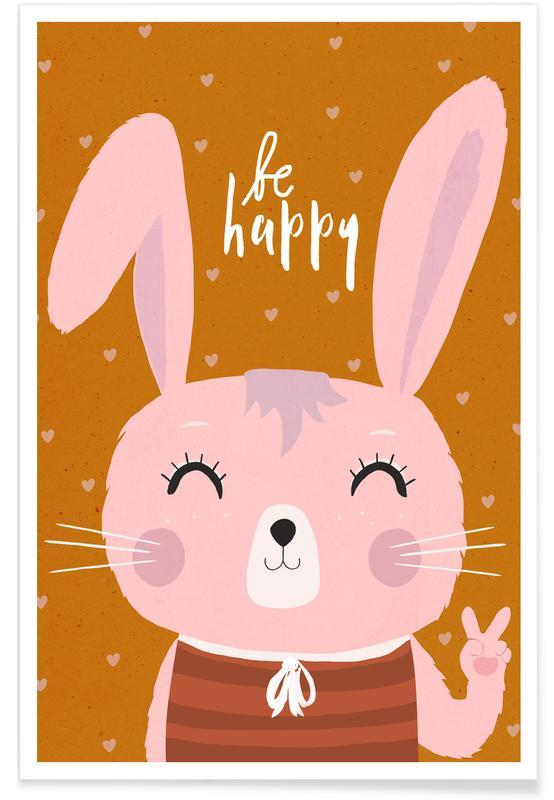 Kunst voor kinderen, Pasen, Konijnen, Be Happy poster
