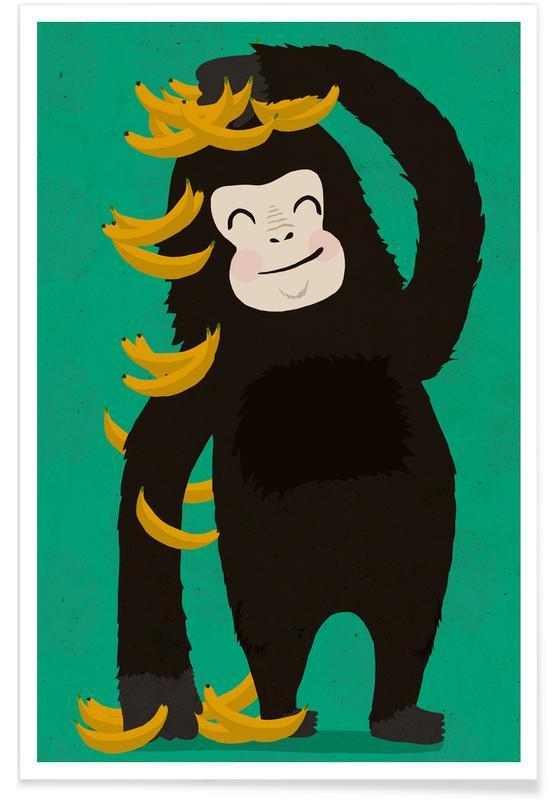 Monkeys, Nursery & Art for Kids, Gorilla Green Poster