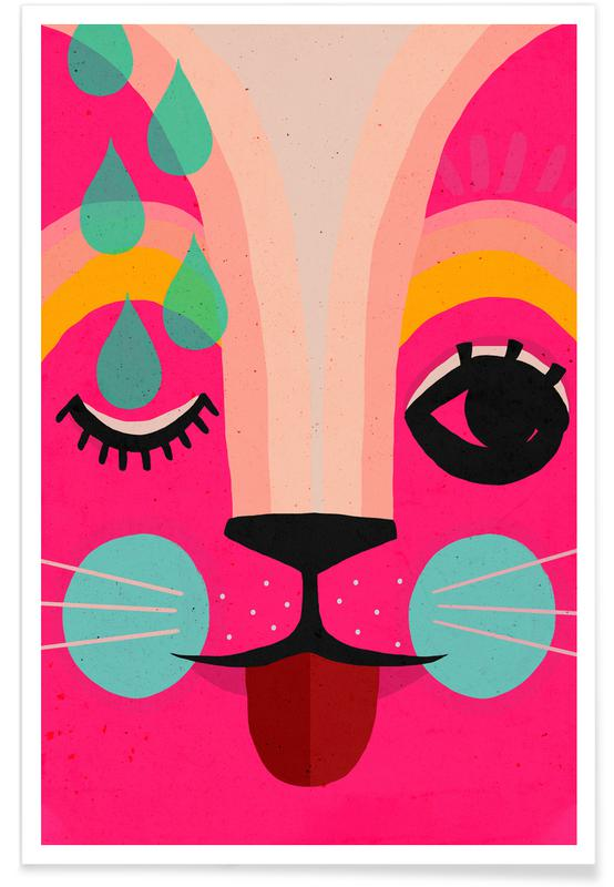 Lapins, Art pour enfants, Neon No.1 affiche