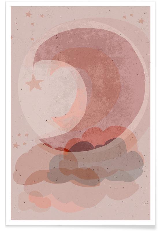 Moon, Nursery & Art for Kids, Dreamy, Gentle Moon Poster