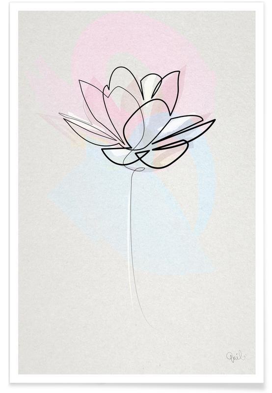 , Lotus - Dessin au trait affiche