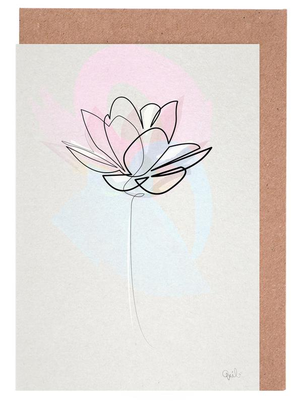 One Line Lotus -Grußkarten-Set