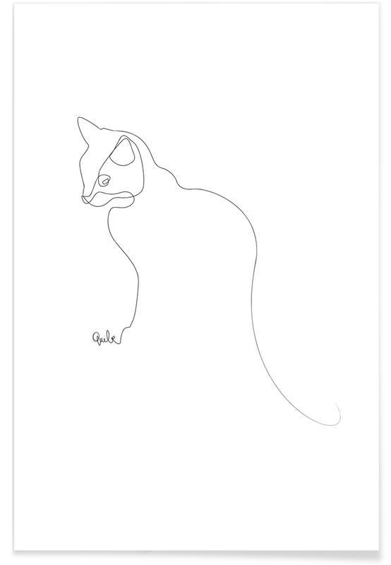 Chats, Noir & blanc, Chat - Dessin au trait affiche