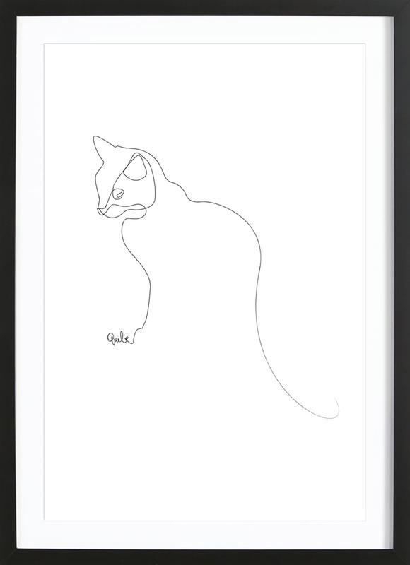 One Line Cat Framed Print