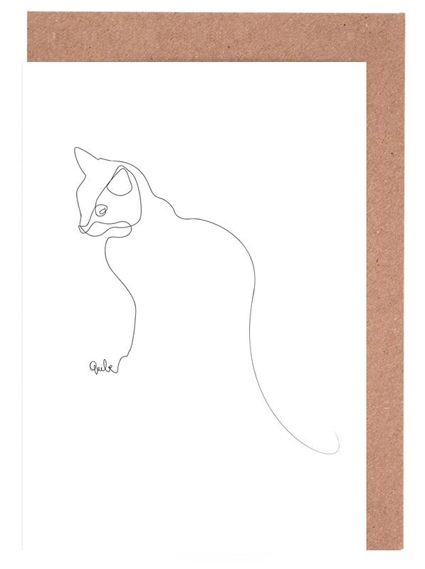 One Line Cat Greeting Card Set