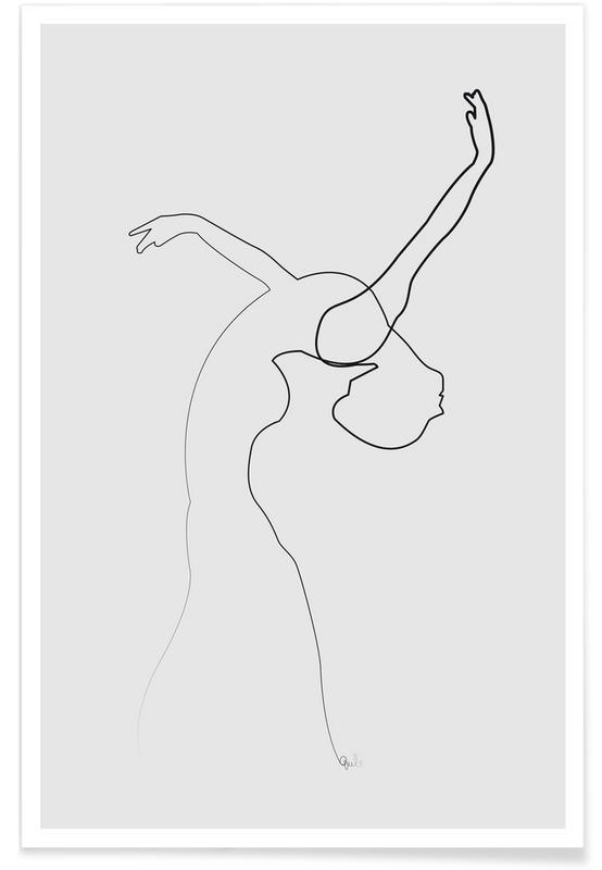 Sort & hvidt, Dancer Line Drawing Plakat