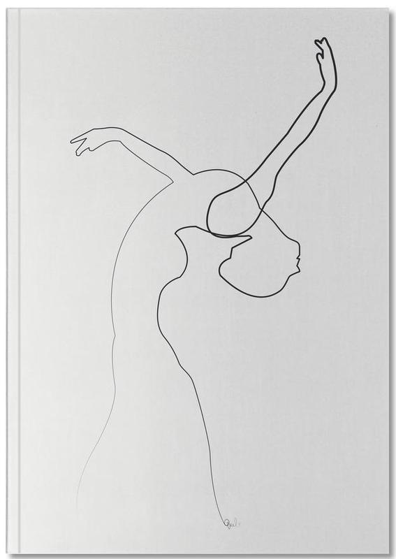 Black & White, One Line Dancer Notebook