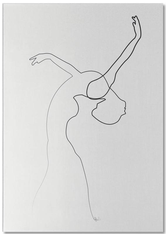 Black & White, One Line Dancer Notepad
