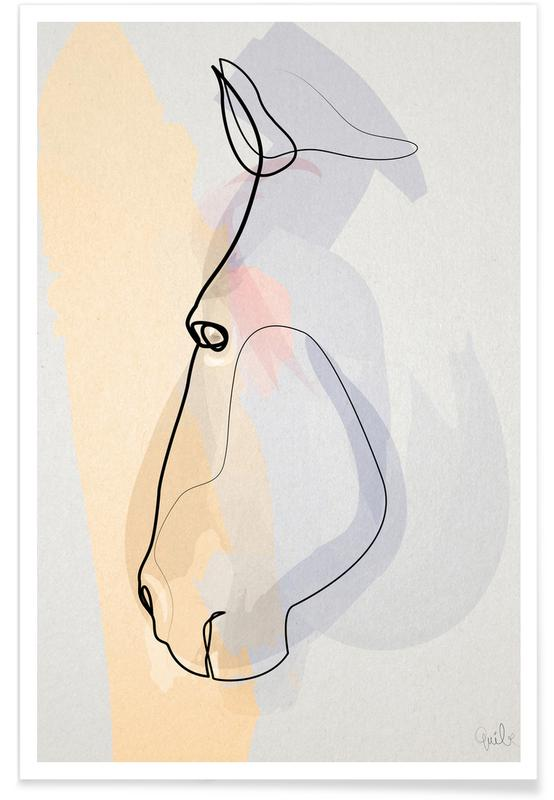 Heste, Horse Face Line Drawing Plakat