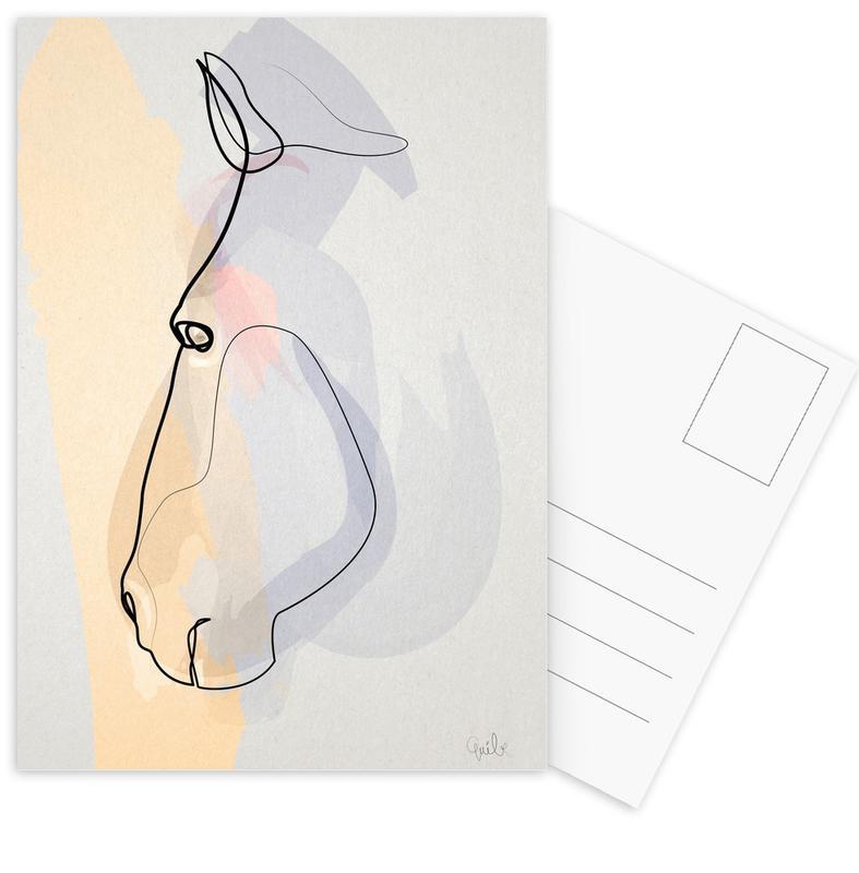Horses, One Line Horse 1711 Postcard Set