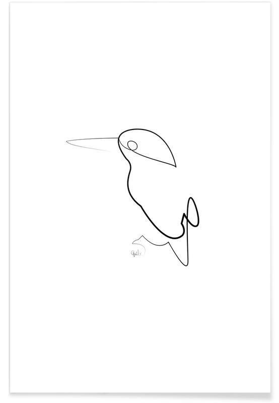 Schwarz & Weiß, Nachtvogel-Linienzeichnung -Poster