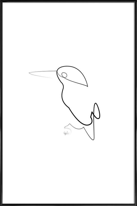 One Line Night Bird Framed Poster