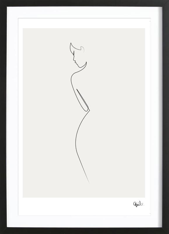 One Line Nude Poster i träram