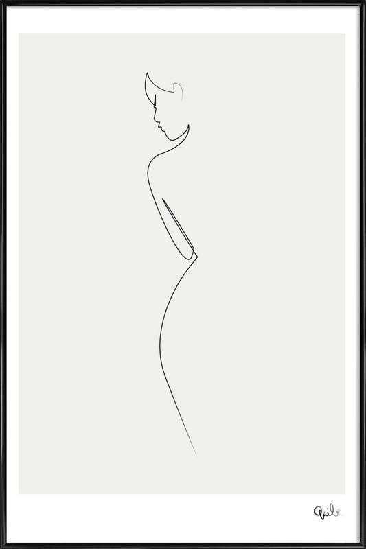 One Line Nude -Bild mit Kunststoffrahmen