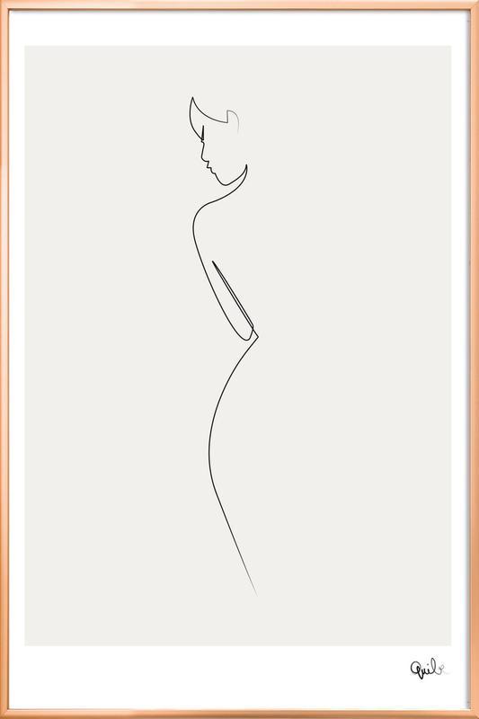 One Line Nude -Poster im Alurahmen