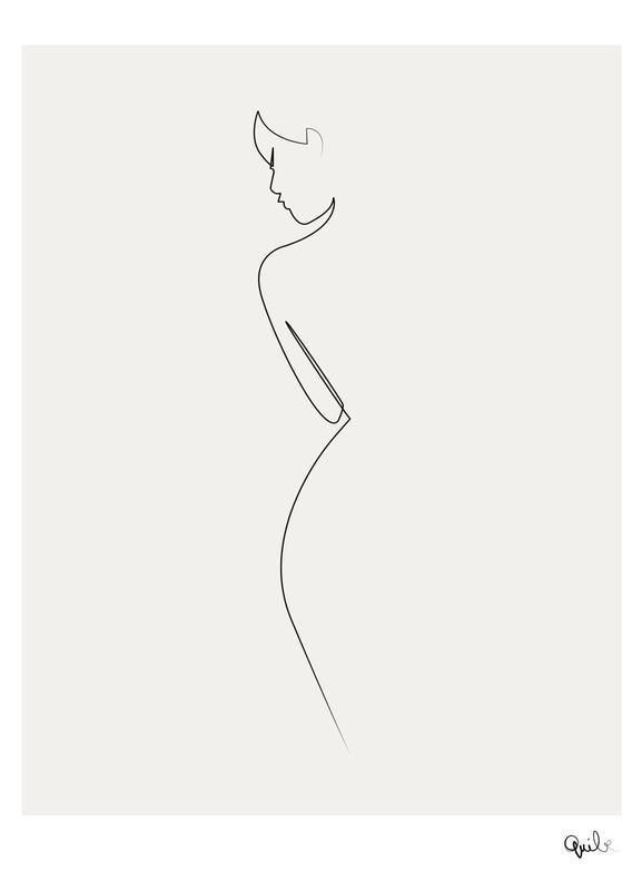 One Line Nude canvas doek