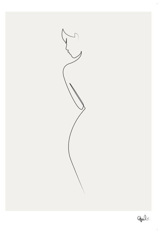 One Line Nude Plakat af aluminum