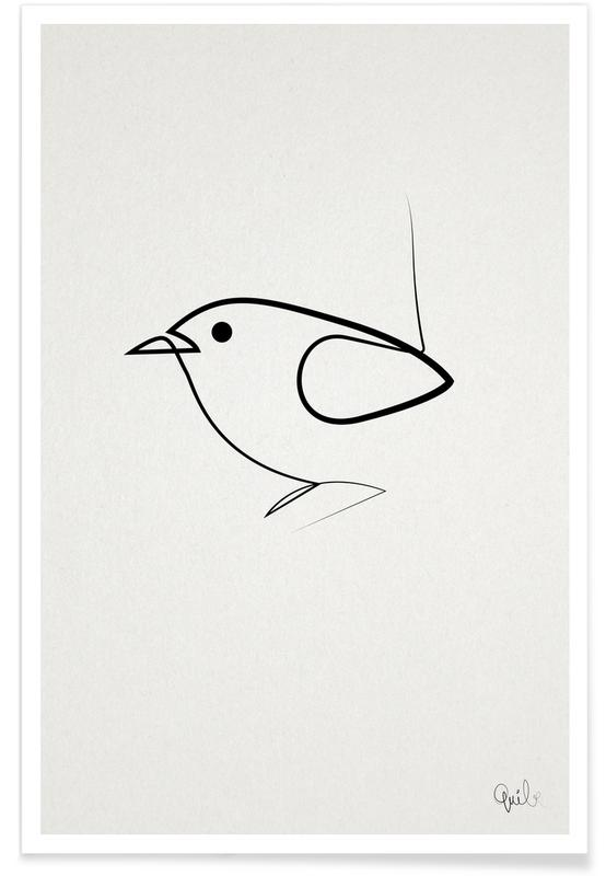 Noir & blanc, Oiseau - Dessin au trait affiche