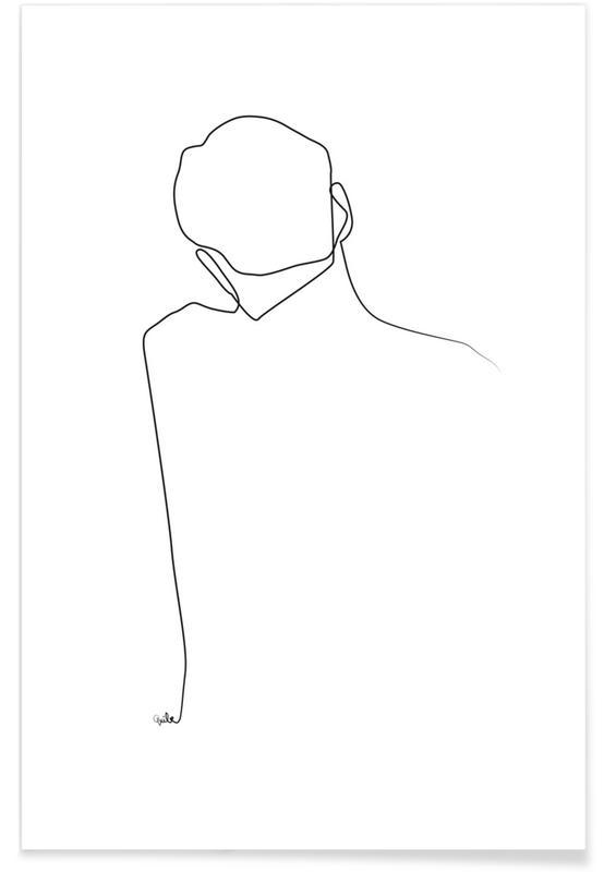 Sort & hvidt, Back Line Drawing Plakat
