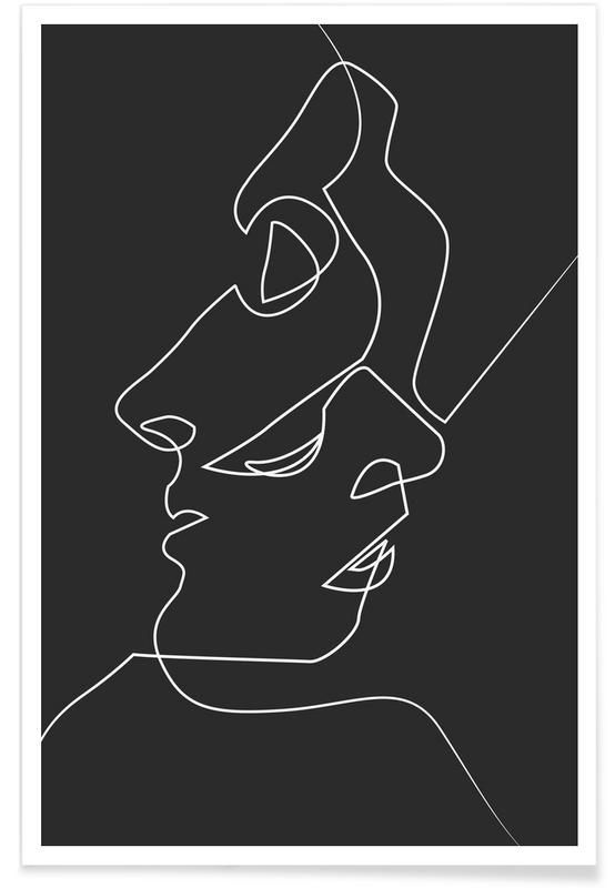 Donkere gezichten - lijntekening poster