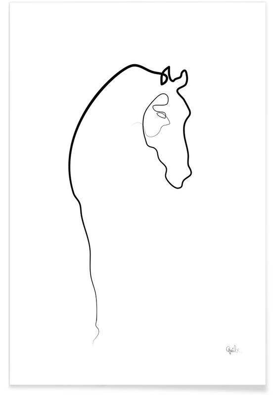Chevaux, Noir & blanc, Cheval - Dessin au trait affiche