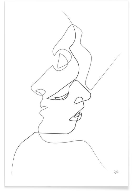 Sort & hvidt, Par, Faces Line Drawing Plakat