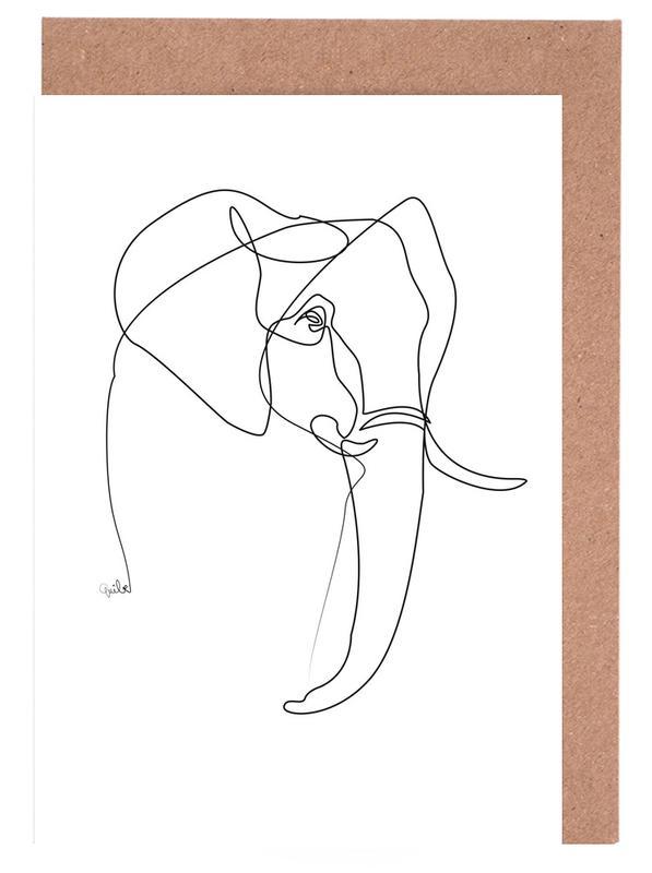 Schwarz & Weiß, Elefanten, Elephant Line -Grußkarten-Set