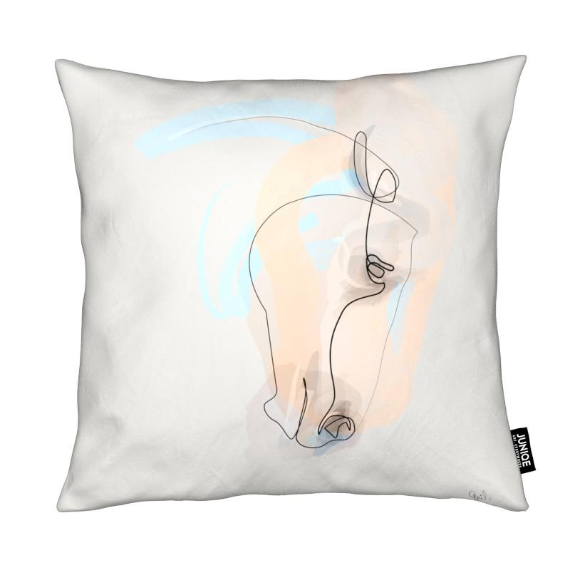 Chevaux, One Line Horse coussin