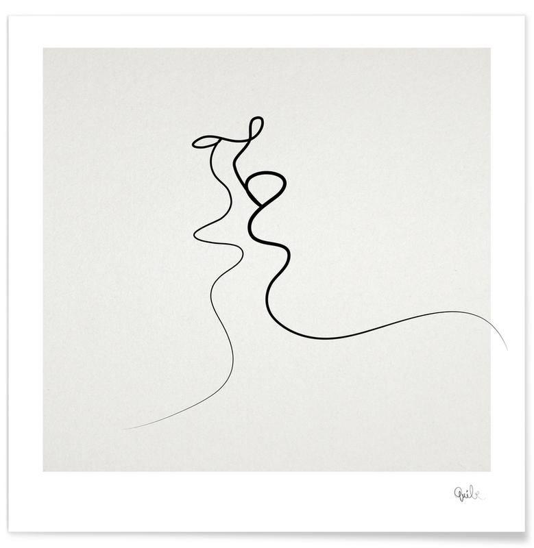 Couples, Noir & blanc, Saint-Valentin, Baiser - Dessin au trait affiche