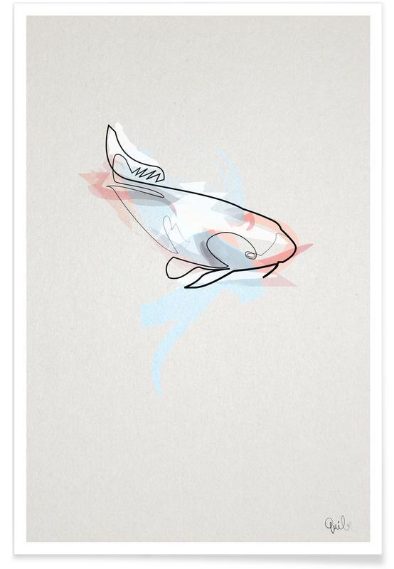 Fisk, Koi Fish Line Drawing Plakat