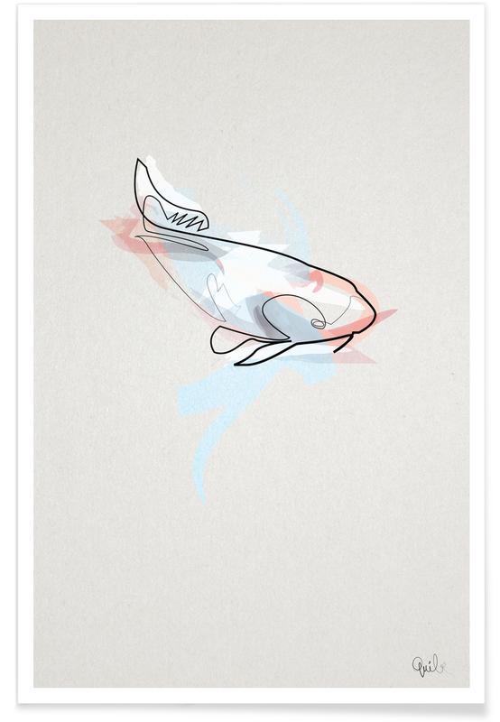 Fish, Koi Fish Line Drawing Poster