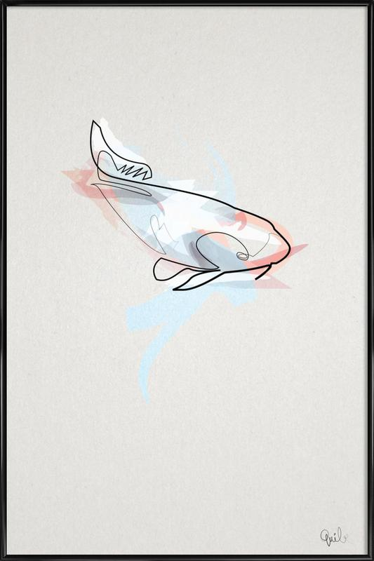 One Line Koi Fish Framed Poster