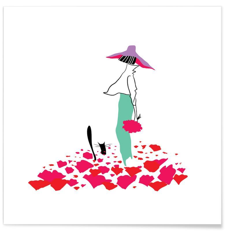 Naissances, Anniversaires de mariage et amour, Coquelicots, Poppy Fields affiche