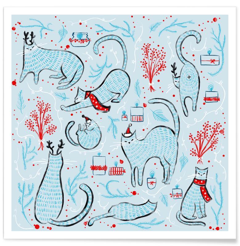 Katzen, Kinderzimmer & Kunst für Kinder, Weihnachten, Christmas Cats -Poster