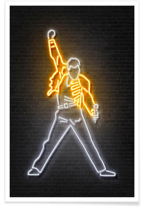 Rock, Neon Freddie Mercury Poster