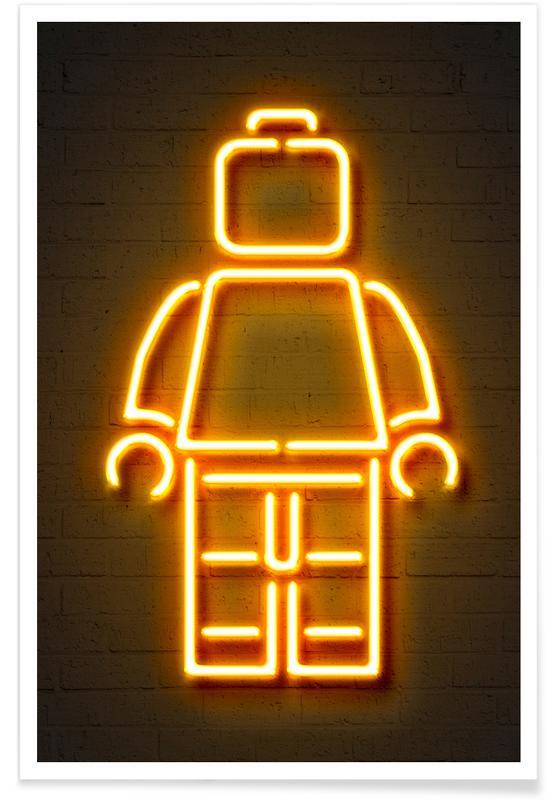 Street art, Børneværelse & kunst for børn, Pop art, Neon Lego Plakat
