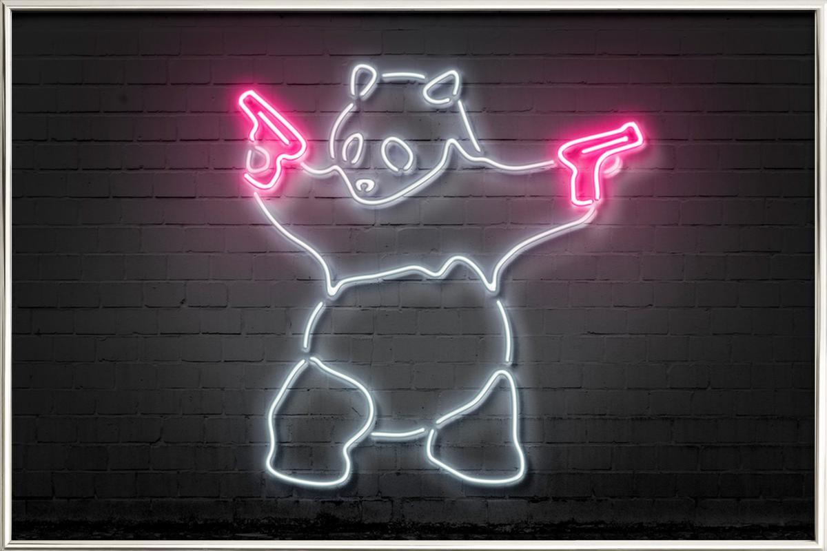 Panda affiche sous cadre en aluminium
