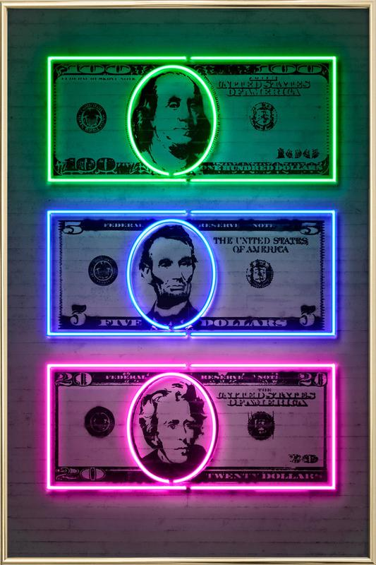 Dollars poster in aluminium lijst
