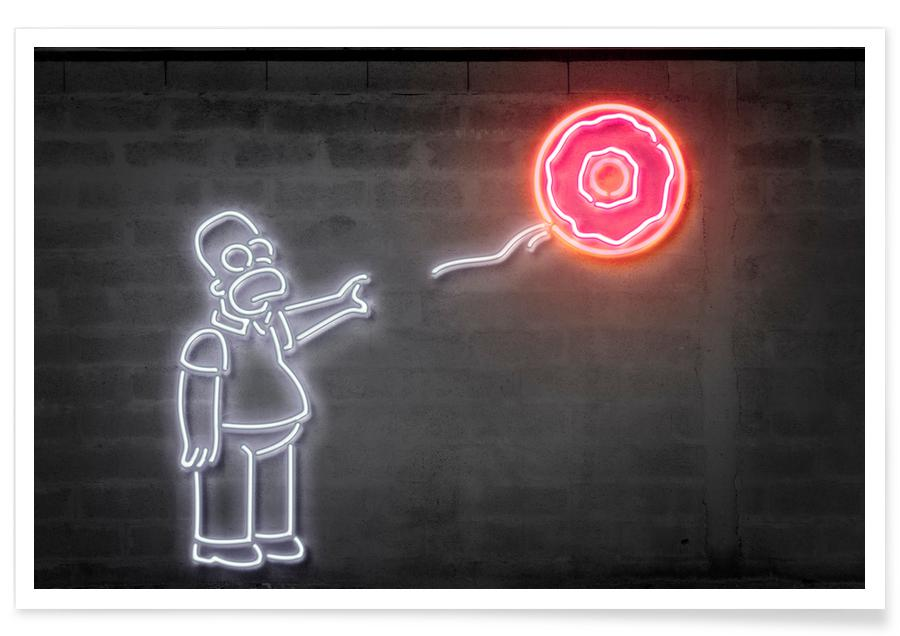 Street Art, Pop Art, Séries TV, Ballon donut Simpsons néon affiche
