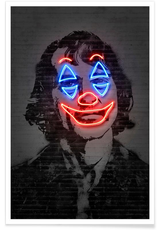 Street Art Style, Pop Art, Neon Joker Poster