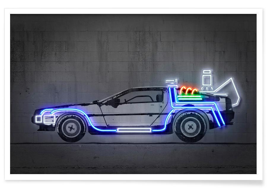 Street Art, Pop Art, Neon Delorean -Poster
