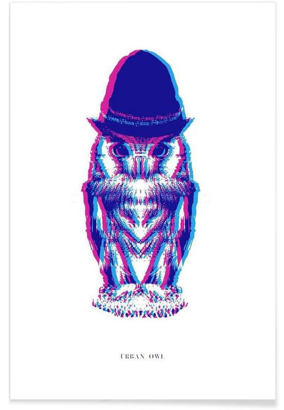 Chouettes, Magenta Owl with cyan beanie affiche